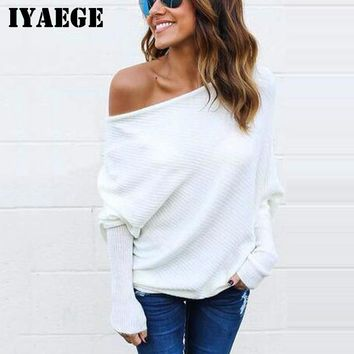 IYAEGE Sweater Women 2018 Casual Long sleeve Knitted Sweater Sexy Off Shoulder Sweater Pullover Knitwear Pull Femme Hiver 3XL