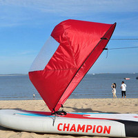 "42""/108 cm Kayak Boat Wind Paddle Sailing Kit Popup Board Sail Rowing Downwind Boat Windpaddle with Clear Window 4 Colors"