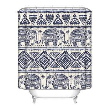 Navy Blue Beige Paisley Elephant 72 x 72 inch Shower Curtain