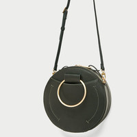 ROUND CROSSBODY BAG WITH METAL HANDLES DETAILS