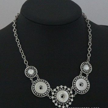 2pcs/lot New Vintage Jewelry Metal Chain Snap Necklace 50CM Rhinestone Flower Pendant Fit DIY 18MM Buttons Jewlery