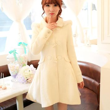 Princess sweet lolita coat  Flower Uncle Flash hat collar horn A word of tall waist long woollen overcoat UF79