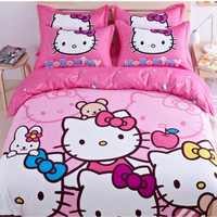 New hello Kitty children Cotton Bedding Sets 3-4pcs Bed set Cotton Duvet Cover Bed sheet Pillowcase Twin and Queen Free Shipping