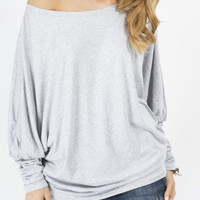 Gray Batwing Sleeve T-Shirt