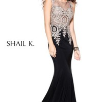 Shail K Beaded Bodice Fitted Dress 3912