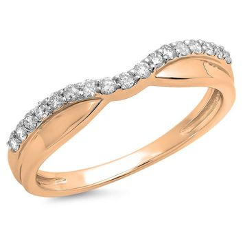 CERTIFIED 0.25 Carat 14K Gold Round White Diamond Wedding Stackable Contour Guard