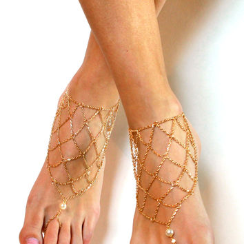 Gold Plated Bohemian Barefoot Sandals