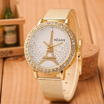 Womens Girls Unique Eiffel Tower Casual Sports Gold Alloy Strap Watch Best Christmas Gift 387