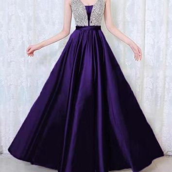 New Navy Blue Patchwork Sequin Grenadine Pleated Sparkly Glitter Birthday Prom Evening Party Maxi Dress