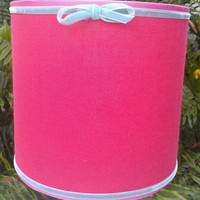 Lamp Shade Drum Watermelon Pink Cotton Linen Hot Pink Grosgrain Baby Blue Velvet Ribbon Trim Designer Custom Hanmade Brass Clip Top Frame
