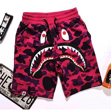 Bape 2018 summer new camouflage shark print casual shorts terry beach pants F/A Purple