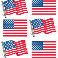 Sticko Metallic Stickers - American Flags Repeats