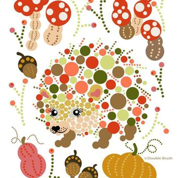 Hedgehog Colorful Graphic Print Circles Dots Bubbles - Shipping Included