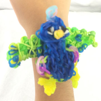 Peacock Bracelet Rainbow Loom Handmade With Rubber Bands