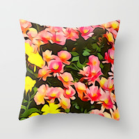 Painted Fall Flower Bouquet Throw Pillow by KCavender Designs