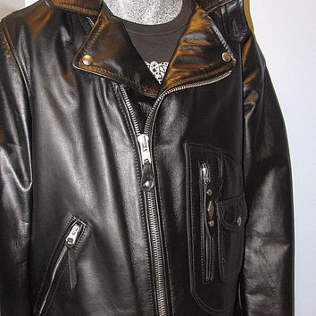Schott NYC Perfecto LEATHER -PER 3 FOR BARNEYS NEW YORK Jacket Made In USA NWT
