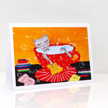 Cute birthday cards for her Cat card Book birthday card Happy birthday card for her Kids birthday card Cute birthday card Funny card Cats