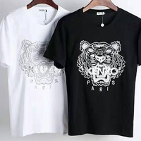 Kenzo new tide brand embroidery tiger head men and women models wild casual half-sleeved shirt