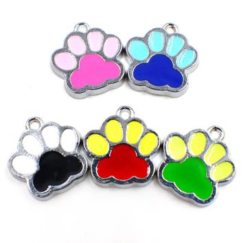 50pcs mixed colors Pretty Cat Dog/Bear Paw Prints hang pendant charms fit Rotating Key Chain Jewelry Making as Gifts HC357