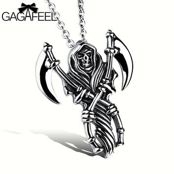 GAGAFEEL Male Necklace Stainless Steel Jewelry Men Vintage Death Scythe Skull Pendant Domineering Link Chain Punk Best Gift N972
