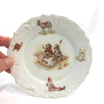 Small Antique Child's Plate, Anthropomorphic Elephants , Donkey Cannon Gnome, Embossed China, Nursery Decor, Victorian Era Porcelain