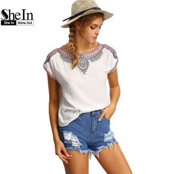 SheIn Womens Tops Fashion New Summer 2016 Vintage Casual Clothing White Round Neck Short Sleeve Embroided Peasant T-shirt