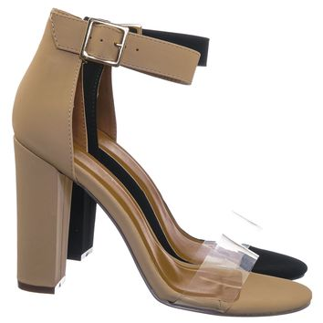 Kimberly3 Clear Lucite Chunky Heel Sandals - Womens Dressy Open Toe Shoes