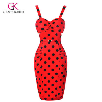 Cheap Short 50s Cocktail Dresses Sexy Polka Dot Vestidos Curtos Cotton Bodycon robe de cocktail Women coctail Party Dresses