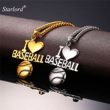 Starlord Baseball Pendant Charms Necklace I Love Baseball Sport Jewelry Stainless Steel/ Gold Color Chain Men New GP2144