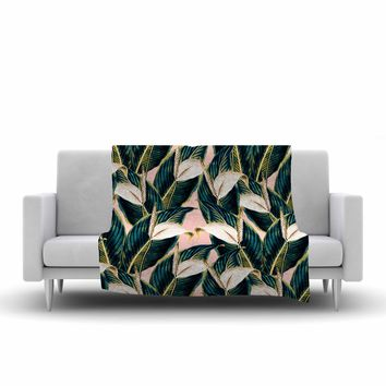 "mmartabc ""Botanical Flowers Vintage"" Pink Green Nature Floral Illustration Digital Fleece Throw Blanket"