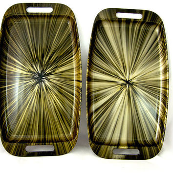 Vintage 1960s Plastic Gold  Color Burst Serving Trays w/Handles-Multiple Colors Available