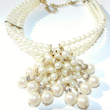 CloseOutSale--) Hobe Pearl Choker Necklace, Victorian Style, HTF, Costume Jewelry, Majorca Pearls, Bridal Jewelry, High End Jewelry, Vintage