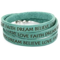 "Dillon Rogers It's a Wrap ""Love, Faith, Dream, Believe"" Teal Leather Bracelet - designer shoes, handbags, jewelry, watches, and fashion accessories 