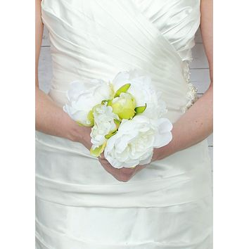 "Peony Silk Wedding Bouquet in White9.5"" Tall - SPECIAL"