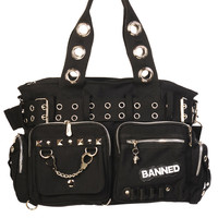 Banned Goth Punk Rock Black Military Belt Purse with Handcuff Skull Charm