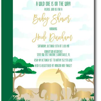 Gold Safari Baby Shower Invitation