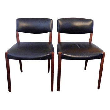 Pre-owned Mobler Style Mid-Century Teak Chairs - Pair