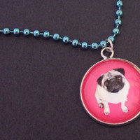 Pink pug necklace with turquoise ball chain, pink pug necklace, pug jewelry, Christmas gift with pugs, Stocking filler, girl gifts