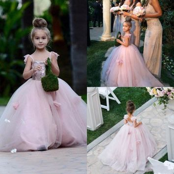 2017 Blush Pink Flower Girls Dresses Spaghetti Straps Junior Bridesmaid Dress Ball Gown Kid Birthday Prom Party Pageant Dress