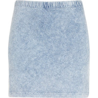River Island Womens Light acid wash denim-look mini skirt