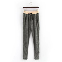 Gray Drawstring Waist Sweat Pants With Pockets