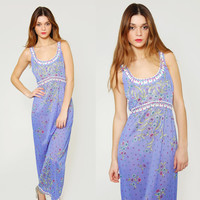 Vintage EMILIO PUCCI Slip Dress 1970s Formfit Rogers Psychedelic Maxi EPFR