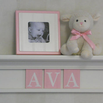 "PINK Baby Girl Nursery Decor 24"" Linen White Shelf with 3 Letter Wooden Tiles Painted Light Pink Customized - AVA"