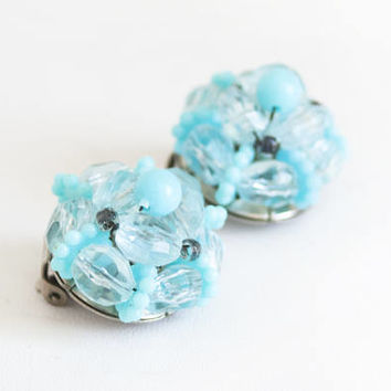 Vintage Turquoise Clip On Earrings, 1950s Beaded Cocktail Jewelry, Button Shape Blue Bead Cluster