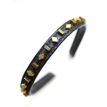 Studded Black Leather Headband, Black Leather Hairband, Gold Studded Hair Accessories