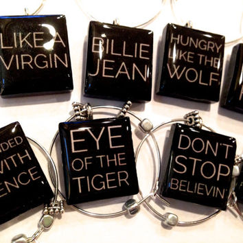Great 80s Song Titles Custom Wine Charms