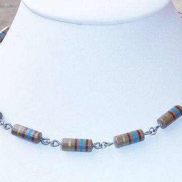 Recycled Computer Part Jewelry  Unisex Brown Striped Carbon Resistor Necklace Choker