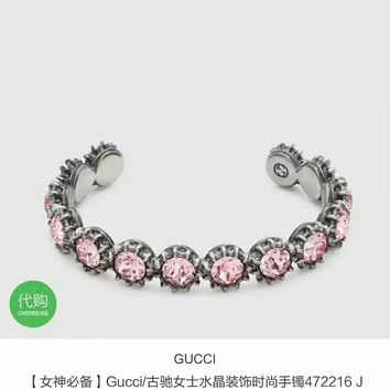 2018 New Trending Pink Gucci logo Slub Women carbon AAAA masonry bracelet hand chain in 18K gold plating S925 Silver
