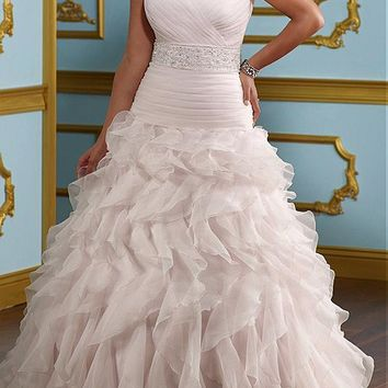 [266.96] Glamorous Organza A-line Sweetheart neckline Plus Size Wedding Dress - dressilyme.com