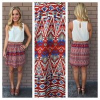 Cream And Rust Print Sleeveless Dress With Belt